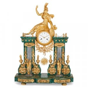 Louis XVI malachite and ormolu mantel clock by Terrien