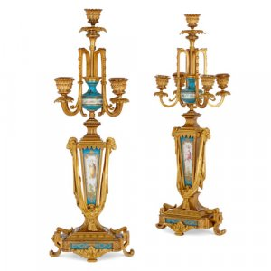 Pair of ormolu mounted Sèvres style porcelain candelabra