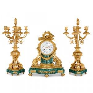 Ormolu and malachite three-piece clock set by Lépine