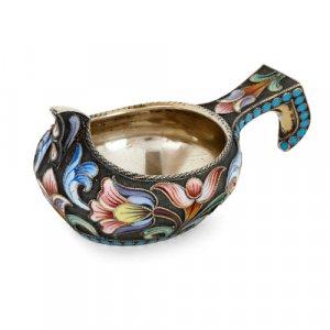Russian cloisonné enamel and silver-gilt Kovsch by Maria Semenova