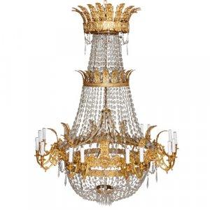 Empire style ormolu and cut glass eighteen light chandelier