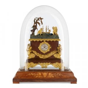 Large ormolu mounted automaton musical mantel clock