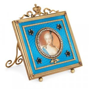 Fabergé style silver-gilt, enamel, and pearl picture frame