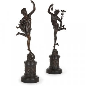 Pair of patinated bronze figures after Giambologna & Fulconis