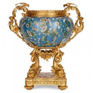 Louis XV style ormolu and cloisonné enamel jardinière