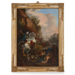 'Attack of the Leopards,' 19th Century French oil painting