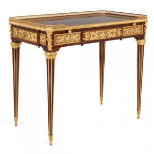 Ormolu mounted parquetry desk by Edwards & Roberts