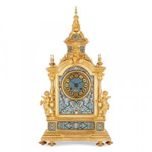 Renaissance Revival ormolu and champlevé enamel mantel clock