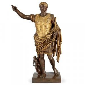 Large gilt and patinated bronze sculpture of Augustus by Barbedienne