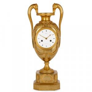 Gilt bronze Empire vase-form mantel clock by Michelez, Paris