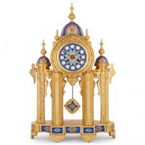 Moorish style porcelain mounted ormolu mantel clock