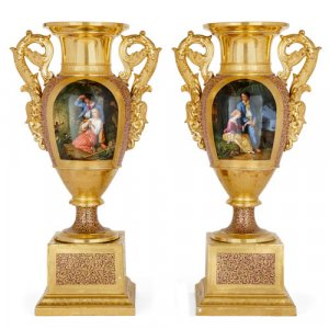 Pair of grand French porcelain vases by Gille Jeune