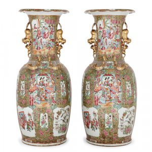 Pair of large Chinese Canton famille verte porcelain vases