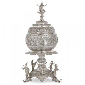 Large Burmese silver presentation centrepiece