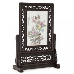 Chinese carved hardwood and porcelain screen