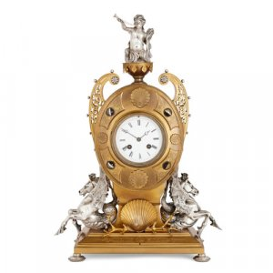 Victorian period silvered and gilt bronze mantel clock