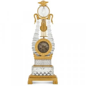 Cut glass and ormolu Restauration period lyre shaped clock