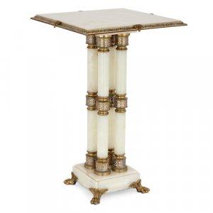 Enamel and ormolu mounted onyx side table