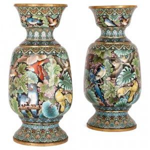 Pair of cloisonné enamel vases depicting exotic birds and parrots