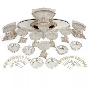 Victorian silver plated and cut glass table service by Elkington