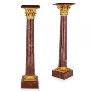 Pair of ormolu mounted griotte marble column pedestals