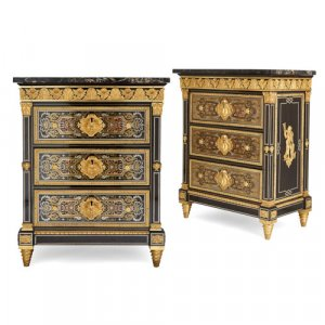 Pair of ormolu mounted Boulle side cabinets