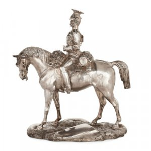 Victorian silver figure of a 9th Royal Lancers officer