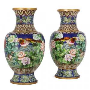 Pair of large Chinese cloisonné enamel vases
