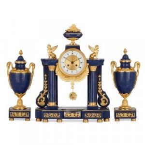 Gilt bronze and lapis lazuli three piece clock garniture
