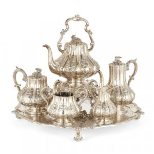 Silver tea and coffee matching set with tray, 19th Century