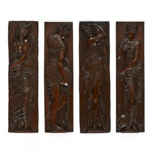 'Fontaine des Innocents', four spelter plaques by Barbedienne