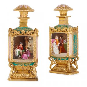 Pair of porcelain bottles attributed to Jacob Petit