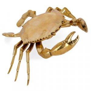 Large Victorian crab-form brass box