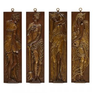 Set of Classical bronze bas-relief panels by Barbedienne