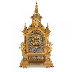 Renaissance style ormolu and champlevé enamel mantel clock
