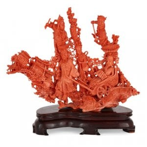 Exceptional Chinese carved red coral group