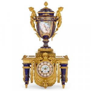 Porcelain and ormolu mantel clock by Barbedienne and Sévin