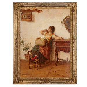 'The Lacemaker,' large oil painting by Paoletti