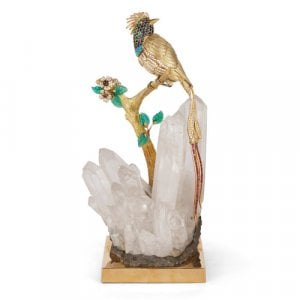 Gold, precious stone, and quartz model of a bird