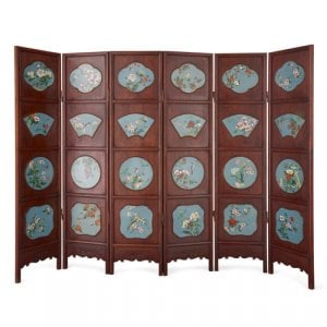 Chinese hardwood screen inset with cloisonné enamel plaques