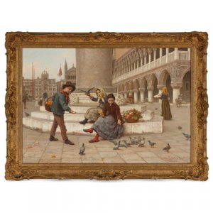 'St. Mark's Square', Italian oil painting by Paoletti