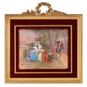 Antique Limoges enamel plaque in gilt metal frame