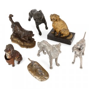Eclectic collection of seven models of dogs