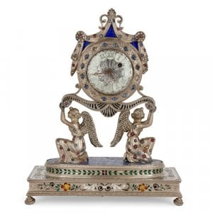 Viennese jewelled silver and champlevé enamel mantel clock