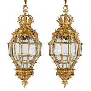 Pair of ormolu and glass 'Versailles' beehive lanterns