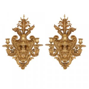 Pair of Régence style ormolu wall lights