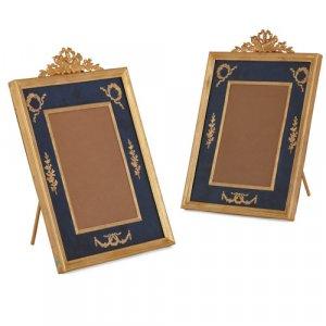 Pair of ormolu and guilloché enamel frames