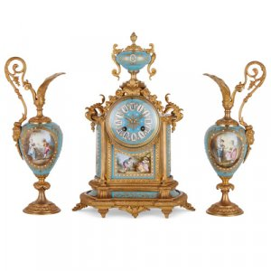 Sèvres style porcelain and ormolu three-piece clock set