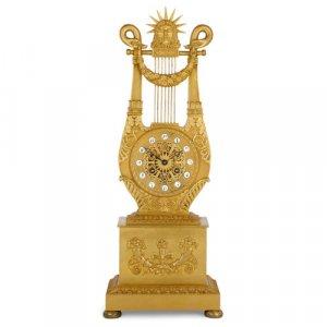 Louis XVI style ormolu lyre-shaped mantel clock by Le Roy