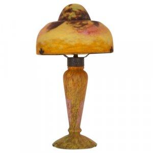 Art Nouveau period antique Marmorean glass lamp by Daum